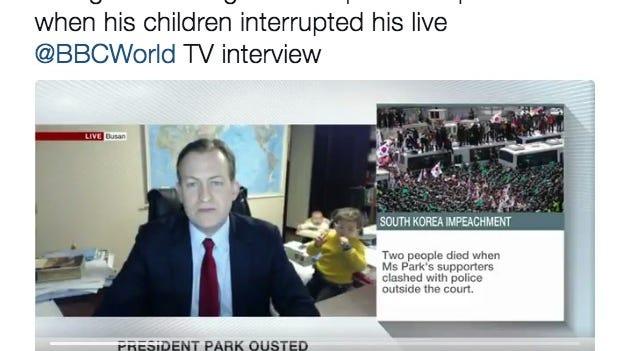 Professor Robert Kelly was doing an interview on South Korea when his children interrupted.