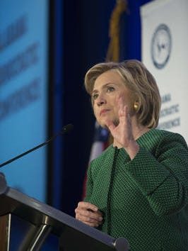 Democratic presidential candidate Hillary Clinton speaks during the Alabama Semi-Annual Democratic Conference on Saturday, Oct. 17, 2015, at the Hyatt Regency Wynfrey Hotel in Hoover, Ala.