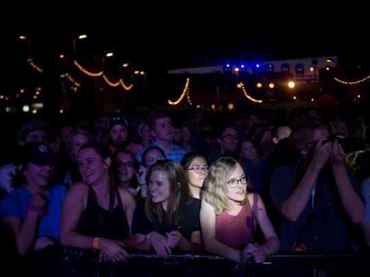 Fans take the front row during Young the Giant at Rhythm N' Blooms on April 9, 2017.