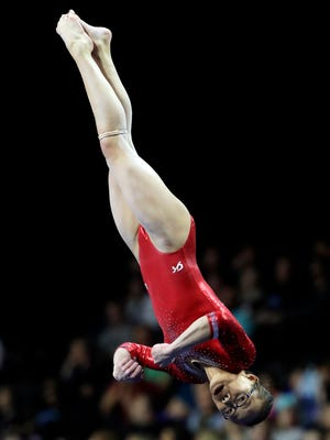 Morgan Hurd competes in the floor exercise at the American Cup gymnastics competition Saturday.