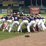 Ketcham huddles before Saturday's Class AA final at Palisades Credit Union Park.