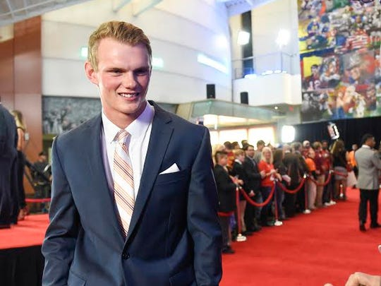 Daniel Carlson walking the red carpet at the ESPN College
