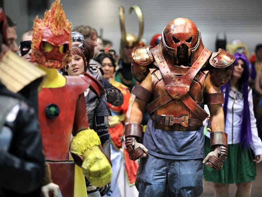James Wulfgar, 33 of Lafayette, dressed as Juggernaut from the X-Men comics as he and other contestants waited to take the stage during the 2014 Comic Con costume contest held at the Indiana Convention Center on Saturday, March 15, 2014.