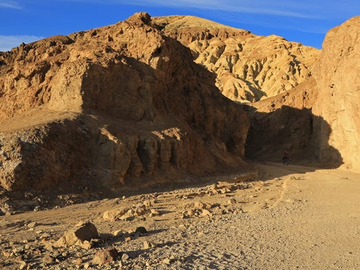 The Golden Canyon Trail begins at the mouth of its namesake canyon in Death Valley National Park.