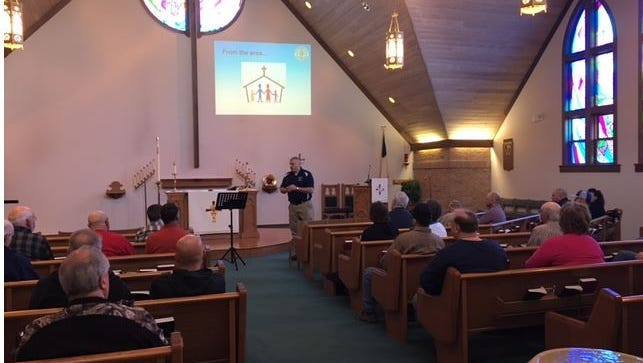 Gary Kiener with K & M Safety Consultants Saturday talked about church safety at a seminar held at First Lutheran Church in Galion.