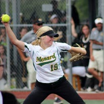 Menard junior pitcher Jensen Howell (#19) fires a strike during the seventh inning of the Lady Eagles victory over Kinder Friday.