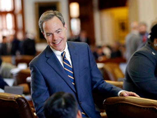 "FILE - In this April 19, 2017, file photo, Texas Speaker of the House Joe Straus, R-San Antonio, talks with fellow lawmakers on the House floor at the Texas Capitol in Austin. Straus has for months opposed a ""bathroom bill"" targeting transgender people, saying the proposal could spark boycotts that could hurt the state's economy. The Legislature is heading into special session on Tuesday, July 25 and conservative groups have promised to target Straus and his key House lieutenants during March's GOP primaries if the issue doesn't pass. (AP Photo/Eric Gay, File)"