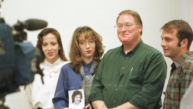From left, Jeanette Pritchard, Annette Dion, John Pritchard Sr. and John Pritchard talk about how the DuBray trial is going during a news conference on April 2, 1999, at the Cascade County Courthouse.