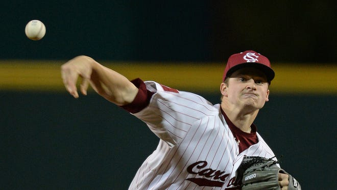 In this 2016 file photo, USC pitcher Clarke Schmidt pitches against Clemson. Schmidt has been named a semifinalist for the Dick Howser Trophy, awarded by the National Collegiate Baseball Writers Association to the top player in college baseball.
