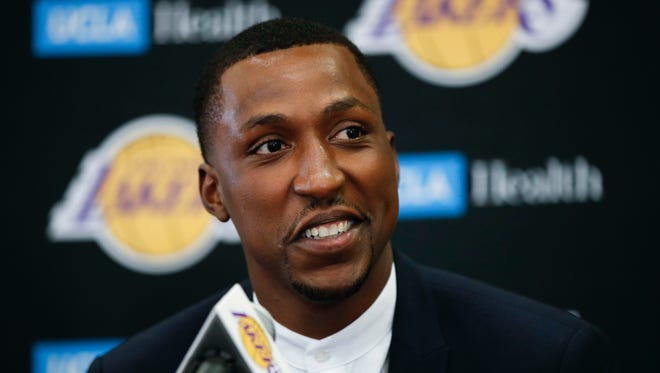 Lakers guard Kentavious Caldwell-Pope speaks during a news conference July 18, 2017 in Los Angeles.