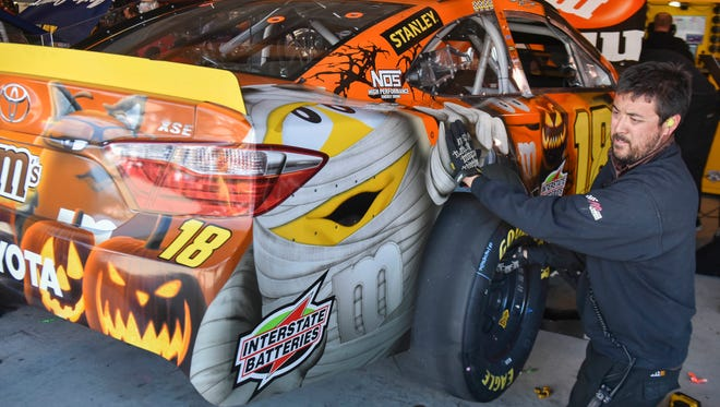 Kyle Busch's car had a Halloween theme from sponsor M&M's at Martinsville Speedway this weekend.