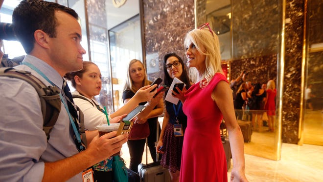 Kellyanne Conway, new campaign manager for Republican presidential candidate Donald Trump, speaks to reporters in the lobby of Trump Tower in New York, Wednesday, Aug. 17, 2016.