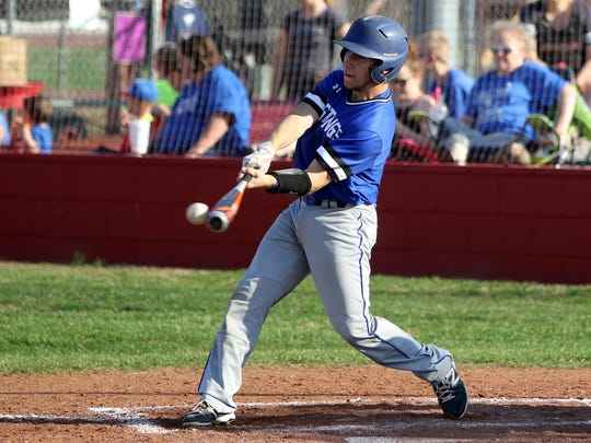 City View's Bodie Oliver hits a single against Holliday Tuesday, March 21, 2017, in Holliday. The Eagles defeated the Mustangs 16-0.