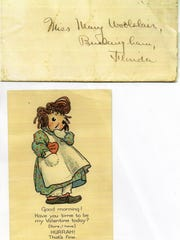 Mary Woolslair received this  Raggedy Ann Valentine from Channing Page.