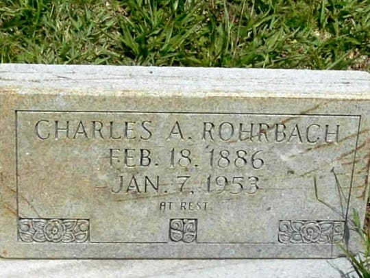 Charles Rohrbach's headstone at All Saints Cemetery.