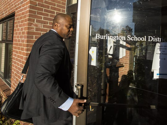 Superintendent Yaw Obeng arrives at the Burlington School District offices on October 19, 2016.