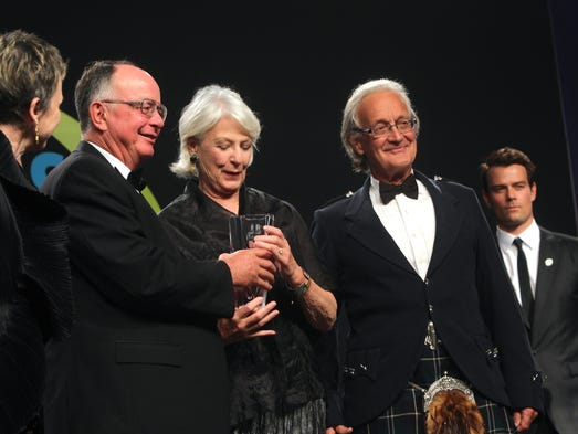 Actress and wildlife conservationist Jane Alexander receives the inaugural Jane Alexander Global Wildlife Ambassador Award from Dr. George Archibald (left), who was awarded the inaugural Indianapolis Prize in 2006. On Alexander's right is the 2010 Indianapolis Prize winner, Dr. Iain Douglas-Hamilton. At far right is program co-host Josh Duhamel.