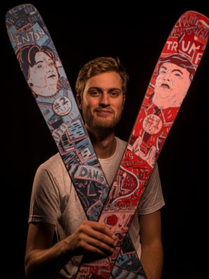 Cyrus Schenck of Renoun ski in Burlington has introduced limited edition Donald Trump and Hillary Clinton skis Ñ Trump is the right ski, Hillary is the left ski Ñ featuring ornate artwork by local graphic artist Jamie Tam.