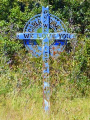 "This cross includes a message to ""Clara"" that the people"