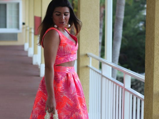 Tiffany Pinero in Grand Cayman in a custom-made two-piece
