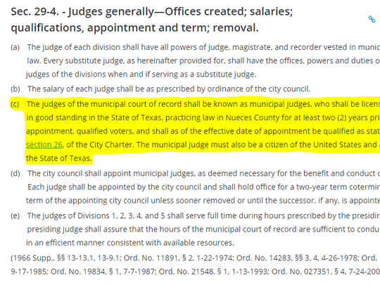 Here are the qualifications for a municipal court judge in Corpus Christi.