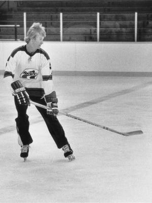 Future NHL star Wayne Gretzky was a short-time member of the Indianapolis Racers in the WHA, shown here in a 1978 practice session.