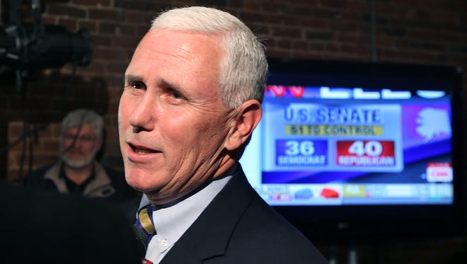 Indiana Gov. Mike Pence, shown during an interview on Election Day, dodged a question from Steve Forbes, when the magazine publisher asked at his Forbes Reinventing America summit why Pence doesn't run for president in 2016. But Pence did say he will make a decision at the end of the 2015 Indiana General Assembly session in April.