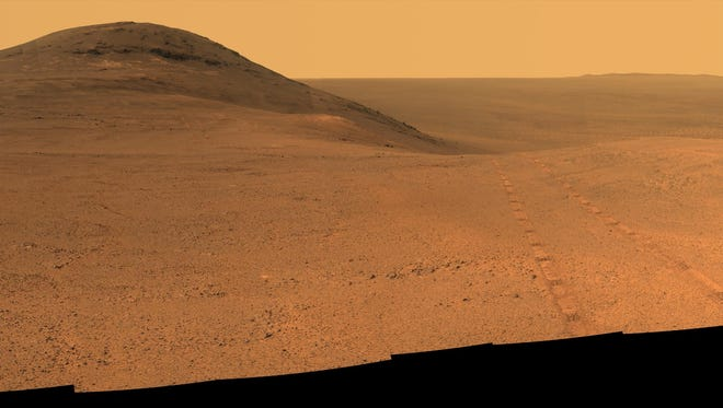 NASA's Mars rover Opportunity recorded a panoramic view before entering the upper end of valley in June.