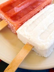 Lee Duberman, chef-owner of Ariel's Restaurant and Cantina in Brookfield, makes the perfect summer dessert: popsicles. Guave on left, coconut on right.