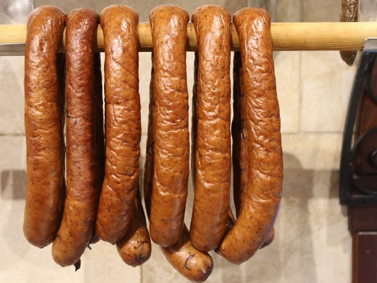 Home made sausage hangs at Piast Meats & Provisions