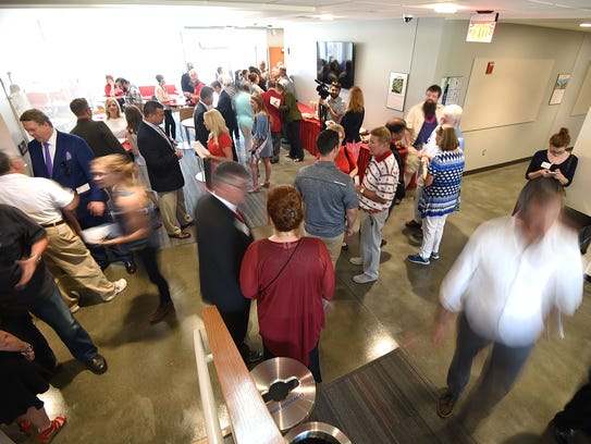 Visitors tour the new Science and Engineering Building