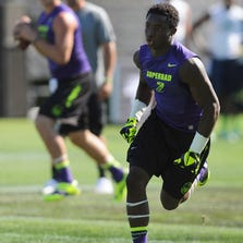 Jul 2, 2013; Beaverton, OR, USA; Wide receiver Speedy Noil (2) runs a pass route during the Nike 7on7 pool play at Nike World Headquarters in Beaverton, Oregon on Tuesday July, 2, 2013. Mandatory Credit: Steve Dykes-USA TODAY Sports