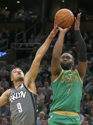 Boston Celtics guard Jaylen Brown (7) is viewing the NBA's plan to restart the season within a bubble in Orlando as an opportunity to make a statement to help others.