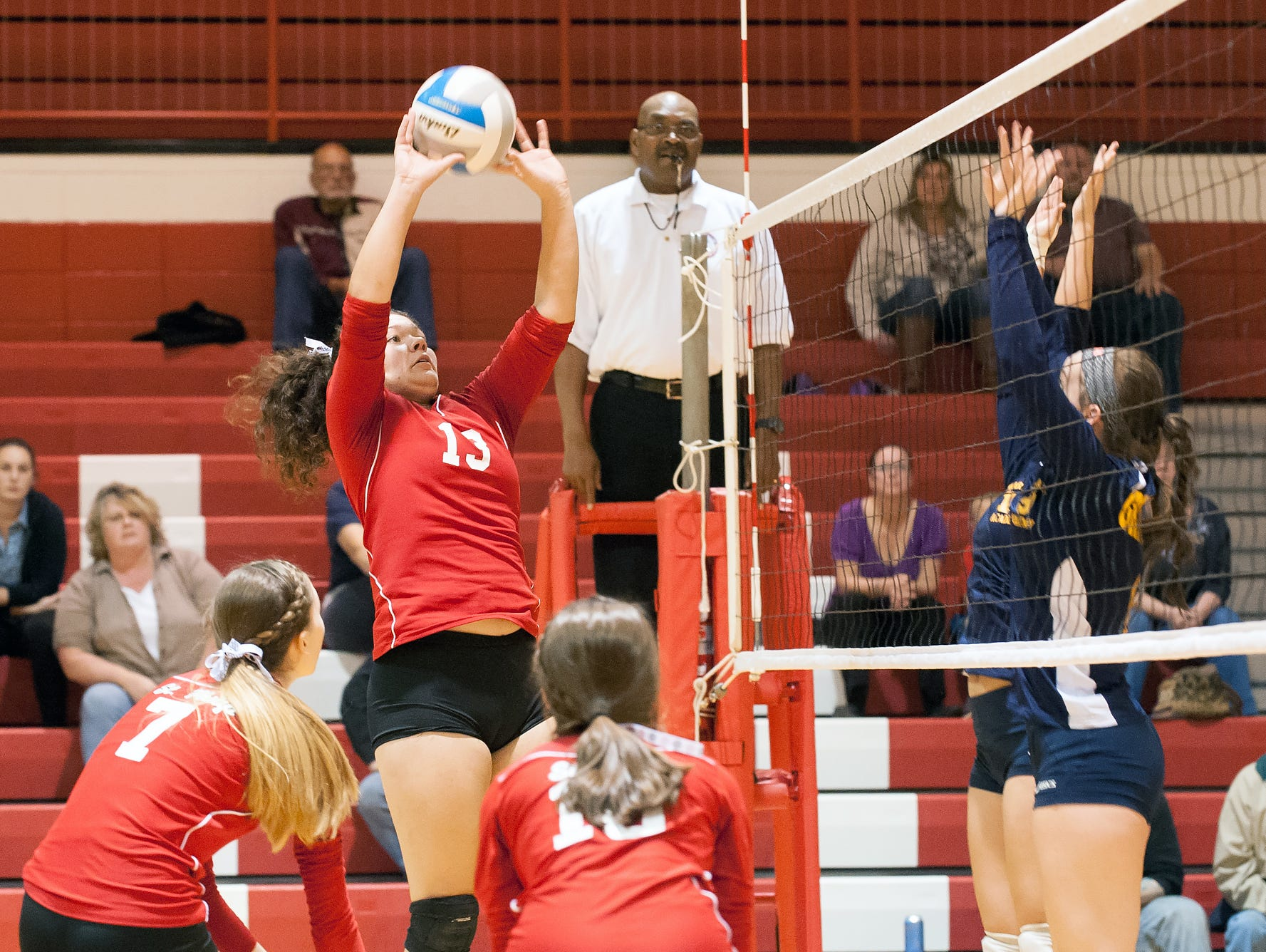 St. Philip's Morgan Luoma in game action Tuesday night during district play.