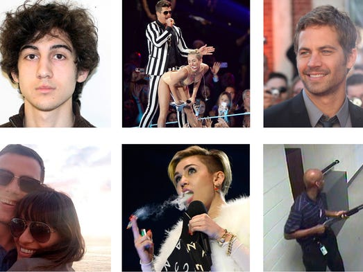 Scroll through to see the 10-most-clicked-on stories across USA TODAY's website, mobile and tablet apps. You did the clicking (or tapping) and we measured the pageviews. This image shows from top row, left: Adrian Peterson, Dzhokhar Tsarnaev, Robin Thicke and Miley Cyrus, Paul Walker, Sunil Tripathi. Bottom row from left: North West, Cory Monteith and Lea Michele, Miley Cyrus, Aaron Alexis, Asiana Flight 214.