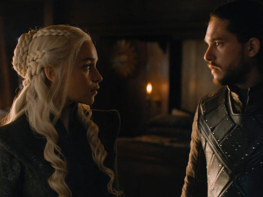 Emilia Clarke as Daenerys and Kit Harington as Jon