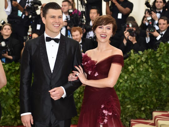 Scarlett Johansson and Colin Jost arrive for the 2018