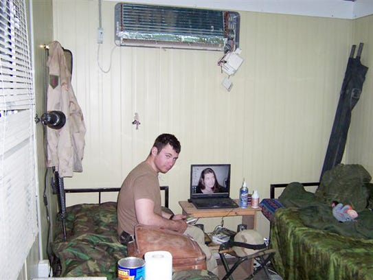 Martin Kondor is shown in his quarters at FOB Warhorse