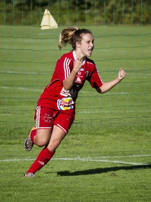 Jade Flory, of Chambersburg, celebrates a goal while playing for RIK Karlskoga, in Sweden's Division I, last season.
