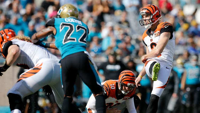 Cincinnati Bengals kicker Marshall Koehn (3) kicks an extra point after a Joe Mixon touchdown in the second quarter of the NFL Week 9 game between the Jacksonville Jaguars and the Cincinnati Bengals at EverBank Field in Jacksonville, Fla., on Sunday, Nov. 5, 2017. At halftime the Bengals trailed 10-7. Cincinnati Bengals wide receiver A.J. Green (18) and Jacksonville Jaguars cornerback Jalen Ramsey (20) were ejected for fighting.