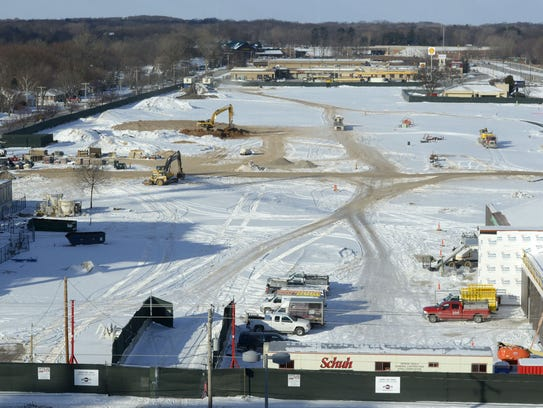 Work has begun on the Titletown District sledding hill