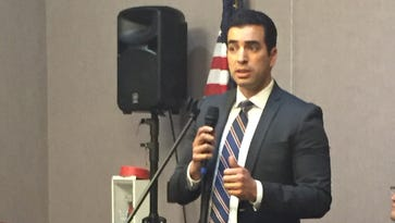 Ruben Kihuen speaks to a crowd gathered at a forum in North Las Vegas on May 17.