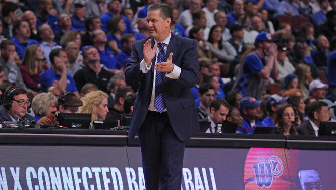Nov 17, 2015; Chicago, IL, USA; Kentucky Wildcats head coach John Calipari reacts during the second half against the Duke Blue Devils at the United Center. Kentucky won 74-63. Mandatory Credit: Dennis Wierzbicki-USA TODAY Sports