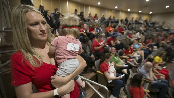 Sarah McNeill of Chandler, with daughter Lainey McNeill, listens to the school-voucher debate from the Arizona Senate gallery in Phoenix on April 6, 2017. Even after the program expansion passed, foes have been showing up at the House gallery to make their concerns known.