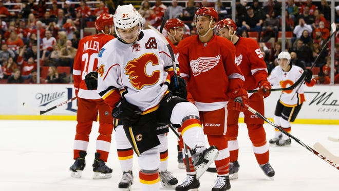 Calgary Flames left wing Jiri Hudler celebrates his goal in the second period against the Detroit Red Wings at Joe Louis Arena Friday.