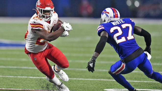 Kansas City Chiefs running back Clyde Edwards-Helaire, left, isn't the only member of the Chiefs' 2020 draft class paying big dividends. Chiefs GM Brett Veach hit on a number of picks as well as free-agent signings.