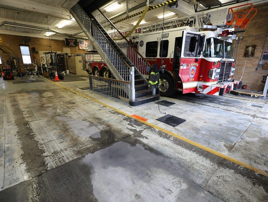 The concrete floors at Fire Station 2 on Webster Avenue