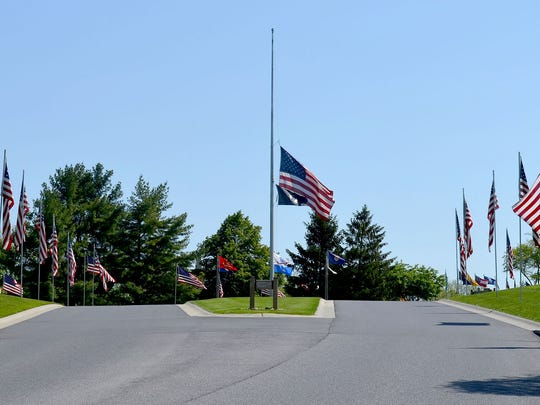 The main flag at Indiantown Gap National Cemetery flies each day at half-staff 30 minutes before the first interment and to 30 minutes after the last interment of the day. Through the first two quarters of 2016, the cemetery has recorded 1,069 interments.