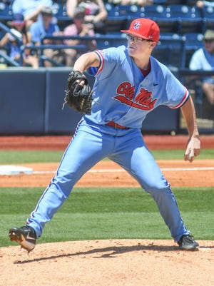 Mississippi's David Parkinson (10) pitches against Texas A&M at Oxford-University Stadium in Oxford, Miss. on Sunday, May 13, 2017. Mississippi won 6-3. (Bruce Newman, Oxford Eagle via AP)