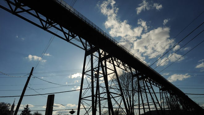 The Walkway Over the Hudson photographed from Albany Avenue in the City of Poughkeepsie.